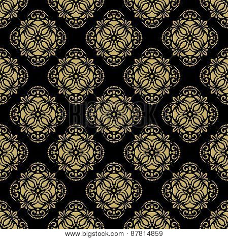 Pattern in the style of Baroque. Abstract  Background with Black and Golden Colors