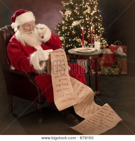 Santa Reading Christmas Wish List