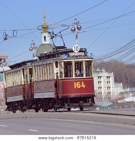 Vintage Tram On The Town Street.