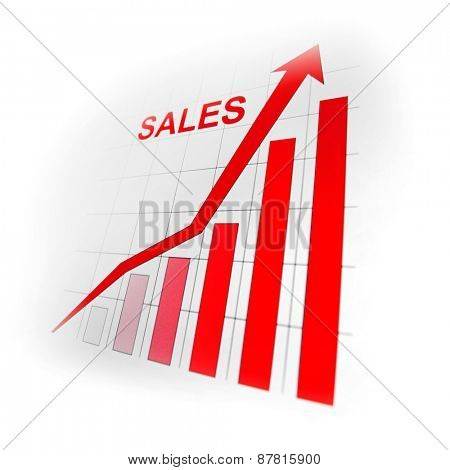 Business sales growth graph with red arrow on white