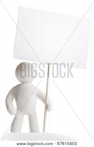 Plasticine man holding sign isolated on white background