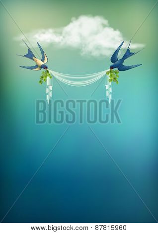 Flying Bird Swallow Vector Card