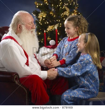 Santa With Two Little Girls