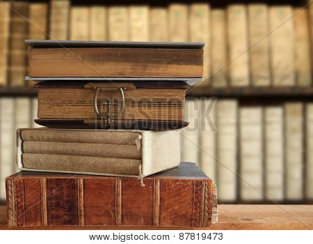 old books in a library