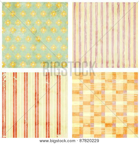 Collection of grunge backgrounds with dots pattern and paper texture