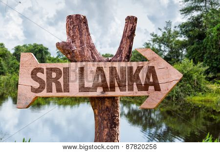 Sri Lanka wooden sign with nature background