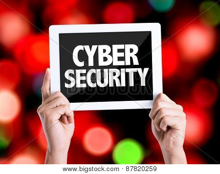 Tablet pc with text Cyber Security with bokeh background