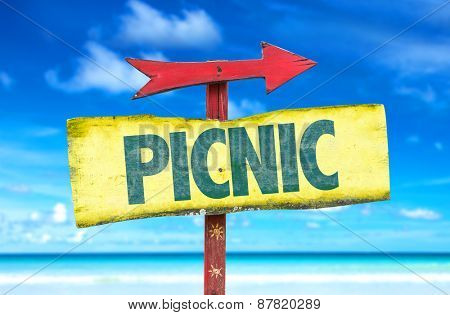 Picnic sign with beach background