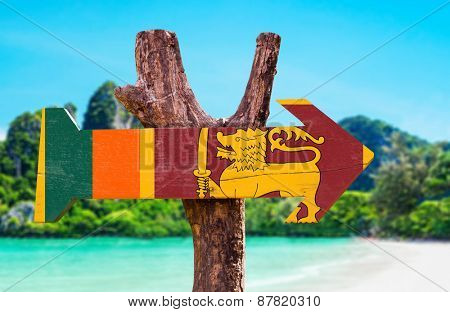 Sri Lanka Flag wooden sign with beach background