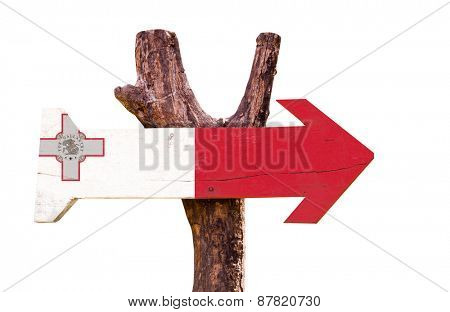 Malta Flag wooden sign isolated on white background