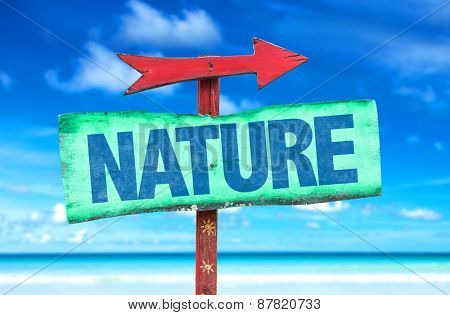 Nature sign with beach background