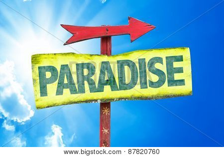 Paradise sign with sky background