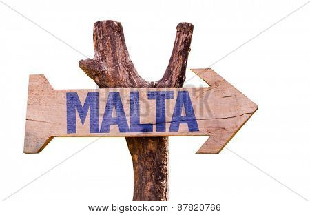 Malta wooden sign isolated on white background
