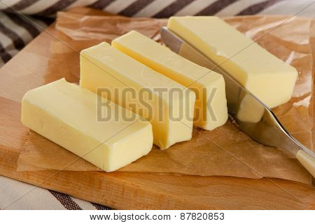 Butter On A  Cutting Board.