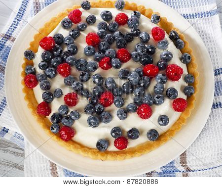 Sweet Cake With Cream Cheese And Berries.