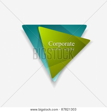 Vector graphic of abstract tringle shapes. Blue and green colors technology logo