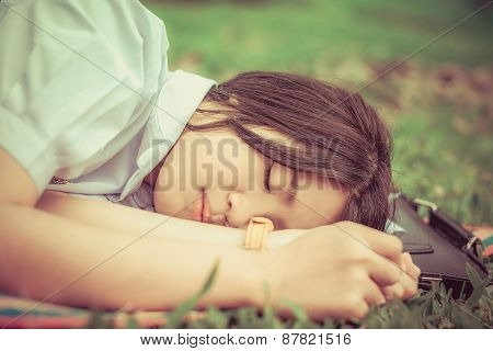 Cute Thai Schoolgirl Fall Asleep During Doing Outdoor Homework In Retro Theme.