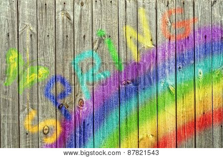 Rainbow And Butterfly On Wood  Background