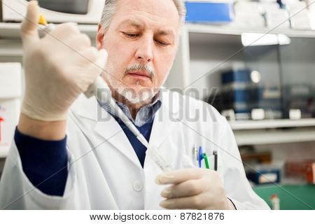 Close-up portrait of a male researcher filling a test tube with liquid in the lab