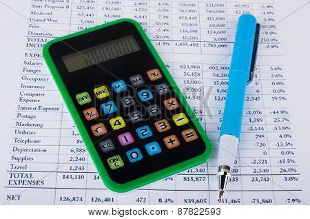 Printout, Calculator And Pen