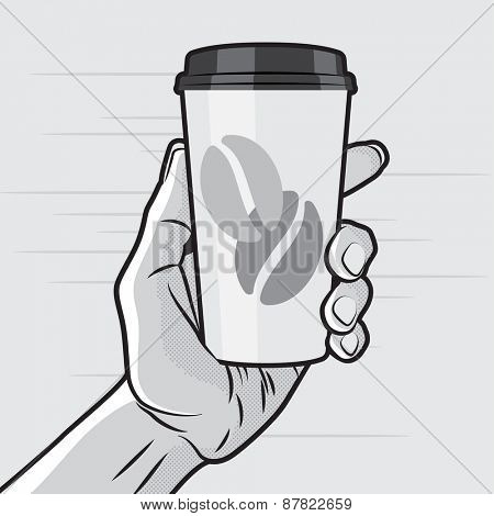 Retro Style - Paper Coffee Cup in Hand