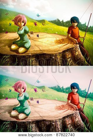 A Girl Is Playing With Butterflies On A Giant Stump With Her Boyfriend Looking - Set1