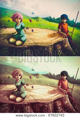 A Girl Is Playing With Butterflies On A Giant Stump With Her Boyfriend Looking - Set 2