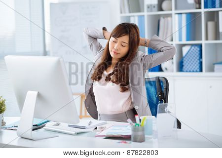 Stretching office worker