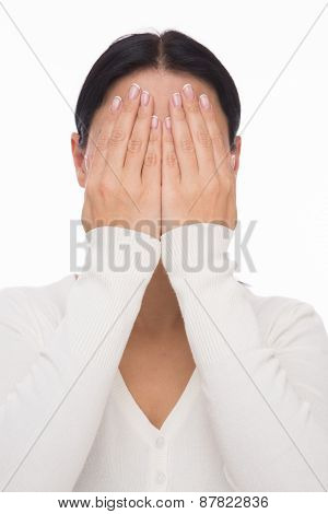 Woman closed face with hands
