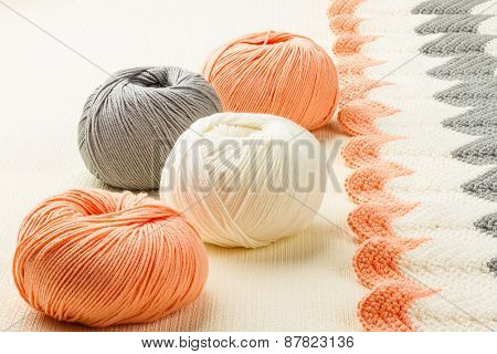 Rolls Of Soft Knitting Yarn And Knitting