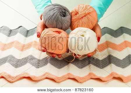 Rolls Of Soft Knitting Yarn, Knitting, Female Hands