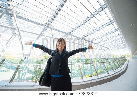 Excited business lady