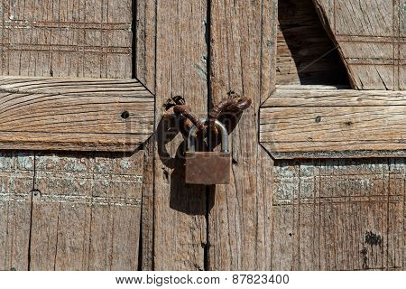 Locker Detail From Antique Wood Door
