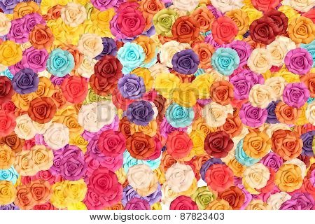 Colorful Roses On Background.