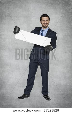Businessman With A Piece Of Paper Perfect For Advertisement