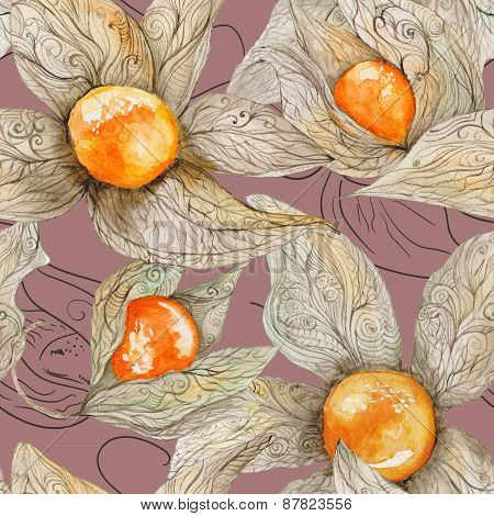Watercolor Pattern with Physalis