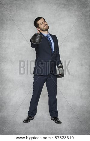 Thumbs Up Businessman In Boxing Gloves