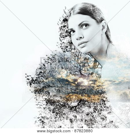 Abstract Double Exposure Of Woman And Beauty Of Nature At The Sunset