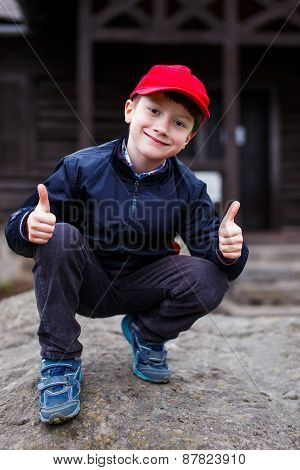 Little Schoolboy Thumbs Up Outdoor
