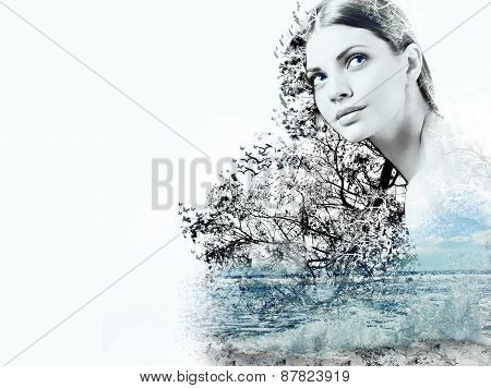 Abstract Double Exposure Of Woman And Waves Of The Ocean