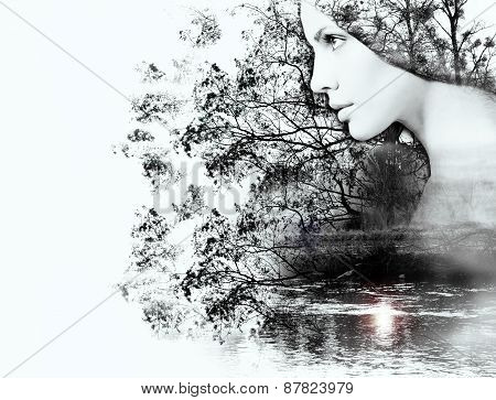 Double Exposure Of Woman And Beauty Of Nature At The Sunset On The River