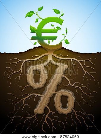 Growing Euro Sign As Plant With Leaves And Percent Sign As Root