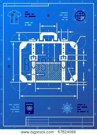 Suitcase As Blueprint Drawing