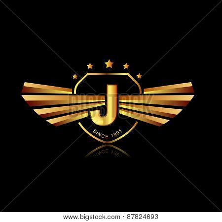Letter J Winged Crests Logo . Alphabet Logotype Design Concept