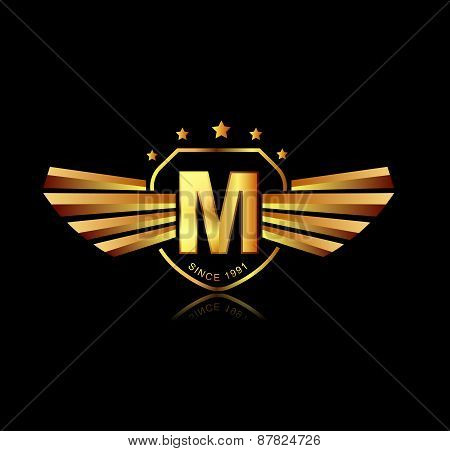 Letter M Winged Crests Logo . Alphabet Logotype Design Concept