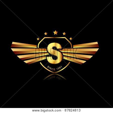 Letter S Winged Crests Logo . Alphabet Logotype Design Concept