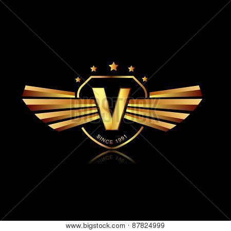Letter V Winged Crests Logo . Alphabet Logotype Design Concept