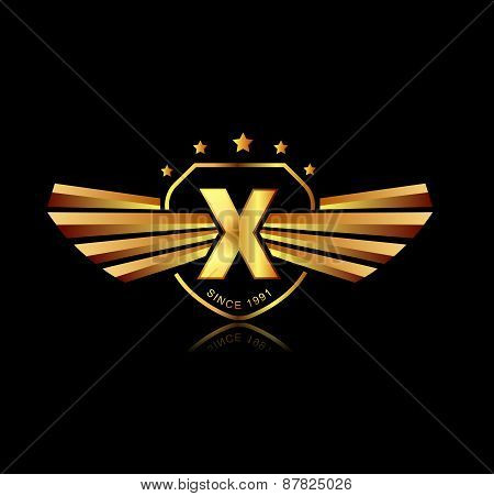Letter X Winged Crests Logo . Alphabet Logotype Design Concept