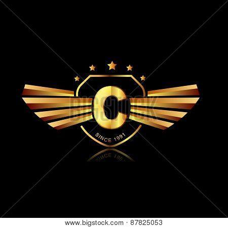 Letter C Winged Crests Logo . Alphabet Logotype Design Concept