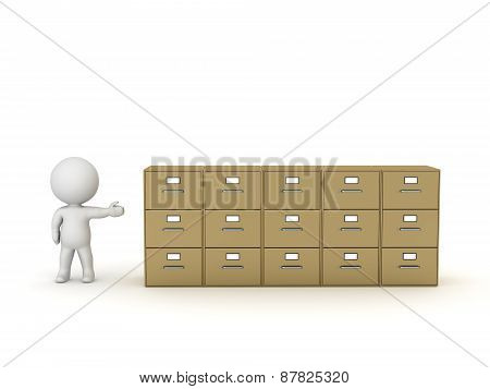3D Character Showing Row of Archiving Cabinets